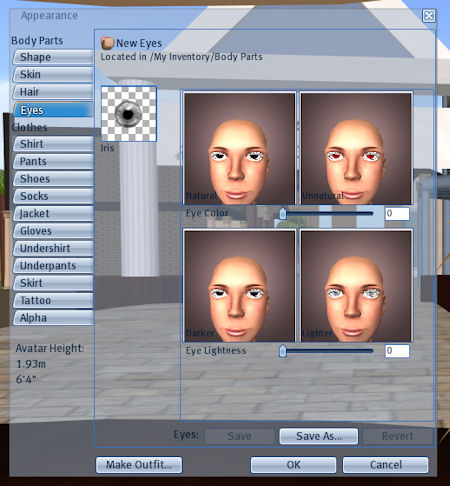Appearance Menu for Eyes
