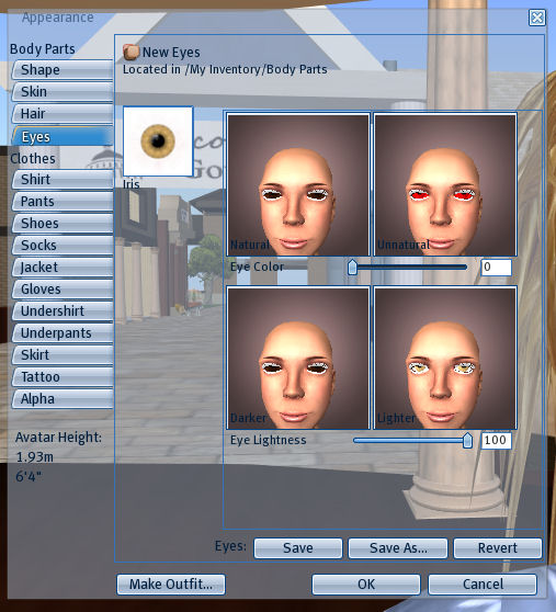 Appearance Menu showing Eye Texture